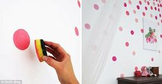 Can't afford to hire a decorator? Use a sponge and create your own colourful polkadots to create a feature wall in your little one's room Diy Little Girls Room, Diy For Girls, Twin Girl Bedrooms, Girls Bedroom, Diy On A Budget, Decorating On A Budget, Decorating Hacks, Bedroom Artwork, Room Decor Bedroom