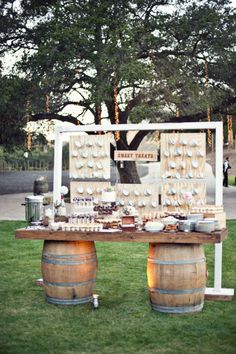 Wow, what a crazy and interesting rustic dessert station!
