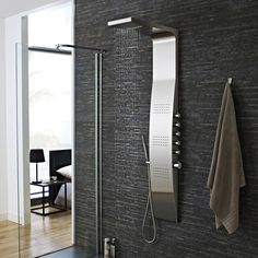 This stainless steel thermostatic shower panel delivers an amazing showering experience