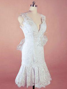 Spitze Apart Kurz Neckholder V-Ausschnitt Hochzeitskleid mit Schärpe