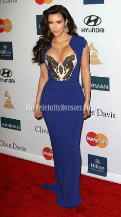 Kim Kardashian Royal Blue Prom Dress Clive Davis' annual pre-Grammy party