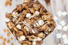 Better than Sex Chex Mix really ups the game with added caramel, peanut butter cups, marshmallows, and more chocolate. Whatever you call it, it's wonderful. Snack Mix Recipes, Chex Mix Recipes, Dessert Recipes, Snack Mixes, Popcorn Recipes, Candy Recipes, Cookie Recipes, Christmas Trash Recipe, Xmas Food
