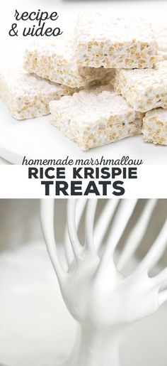 Homemade Marshmallow Rice Krispie Treats Homemade marshmallow rice krispie treats are easier than making them with packaged marshmallows. And they're naturally gluten free! Homemade Marshmallow Fluff, Marshmallow Treats, Homemade Marshmallows, Homemade Rice Krispies Treats, Rice Crispy Treats, Krispie Treats, Best Gluten Free Recipes, Gluten Free Treats, Gluten Free Desserts