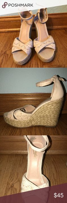 Tan wedges Tan adorable summer wedges! Perfect with a sun dress, honestly wish I could keep them, just to tall for them! Candie's Shoes Wedges