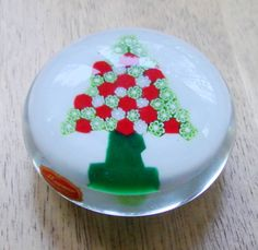 Murano Glass Christmas Tree Paperweight Made in Italy w/ Sticker