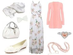 Floral dress, pink cardigan, white shoes, white scarf, white hair bow, pink bracelet, silver and pink ring