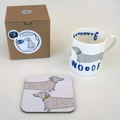 Dachshund Wooof Mug and Coaster Gift Set by Charlotte Farmer