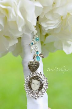 Turquoise Bouquet Picture Charm  Bridal Bouquet by PetalWhispers