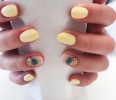 Cute Nail Art Designs for Short Nails 2019 - Nail Designs Cute Nail Art Designs, Short Nail Designs, Pineapple Nail Design, Pineapple Nails, Yellow Nails Design, Yellow Nail Art, White Nail, Pastel Yellow, Pastel Colors
