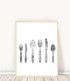 Cutlery Print, Kitchen Wall art, Kitchen Decor, Dining Room Prints, Printable Art, Modern Wall Art, Instant Download, Wall Decor Kitchen Wall Art, Kitchen Decor, Affordable Wall Art, Black And White Prints, Scandinavian Art, Tree Print, Typography Prints, Modern Wall Art, Leaf Prints