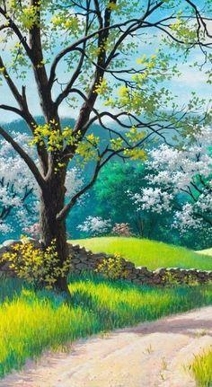 Fantasy Landscape, Landscape Art, Landscape Paintings, Beautiful Landscape Wallpaper, Beautiful Landscapes, Graffiti Kunst, Anime Scenery Wallpaper, Nature Paintings, Tree Paintings