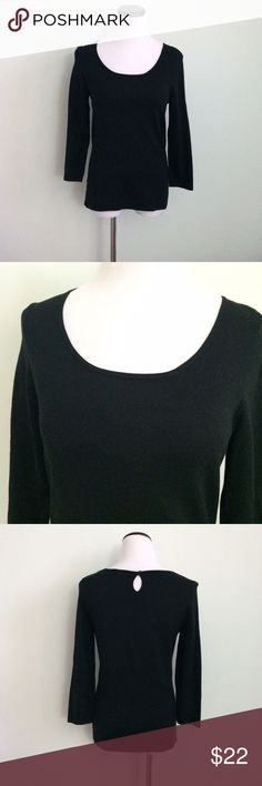 ANN TAYLOR Black silk blend Top Gently worn. 3/4 sleeves. Keyhole and button at back. Ann Taylor Tops