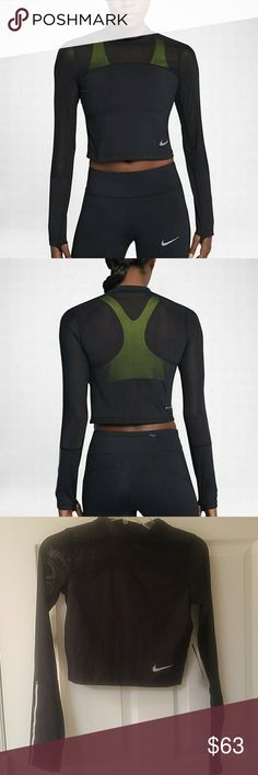 Nwt blk Nike epic lux ls sheer inst Nwt black Nike epic looks long sleeve sheer insert running top. This top is new with the tags attached, and is a women's size extra small. The actual selling price of the shirt is $50 minus the seller's fees. Nike Tops Tees - Long Sleeve