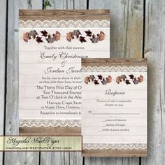 Printable Wedding Invitation, Rustic Fall Wedding, Includes RSVP, Autumn Wedding Invitation, Fall Leaves and Lace Wedding Invite