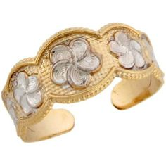 Two-Toned 14k Real Gold & Rhodium Flowers Designer Ladies Toe Ring Jewelry Liquidation. $130.01