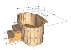 Деревянная купель для бани чертёж