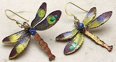 Vintage-Artisan-Dragonfly-Dangle-Earrings-w-Hand-Painting-Beads-Copper-Metal