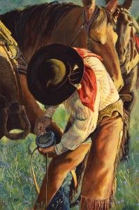 """Daily Painters Of Colorado: """"Trust"""" Original Horse and Cowboy Painting by Colorado Artist Nancee Jean Busse"""