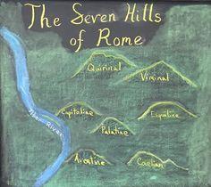The Seven Hills of Rome Chalkboard created by CSWS 6th grade teacher Matt Troedson for their Roman History block. #CedarSpringsWaldorf #grade6