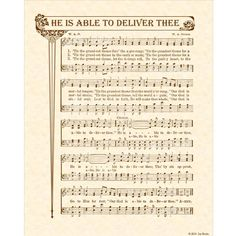 HE IS ABLE To Deliver Thee 8x10 Antique Hymn Vintage Verses