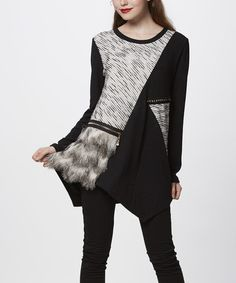 Look what I found on #zulily! Black Mixed Media Tunic #zulilyfinds