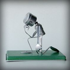 recycled art sculptures | Tebowing robot recycled art sculpture kitchen robot by leuckit
