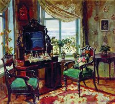 The Drawing Room, Rozhdestveno, 1912 by Stanislav Zhukovsky