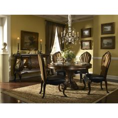 AICO Michael Amini Palace Gates Leather Side Chair - Set of 2