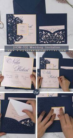 Elegant Navy laser cut pocket wedding invitations with modern blush invitation card and mirrored backer EWWS266