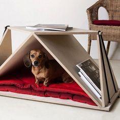 cama/casinha pro cachorro na sala sem que ocupe espaço ou deixe o lugar feio, que tal essa ideia?  Fonte: Blog da Arquitetura #petsdecor #pets