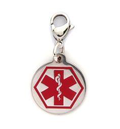 Round Caduceus Medical ID Charm