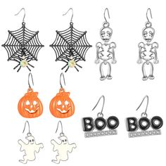 Halloween Theme 5 Pairs Drop Earrings Spider Web Pumpkin Skeleton Skull Boo Dangle Earring Set * You can get additional details at the image link. (This is an affiliate link) Halloween Earrings, Halloween Jewelry, Halloween Themes, Halloween Decorations, Women Halloween, Jewelry Gifts, Fine Jewelry, Fashion Jewelry, Women Jewelry