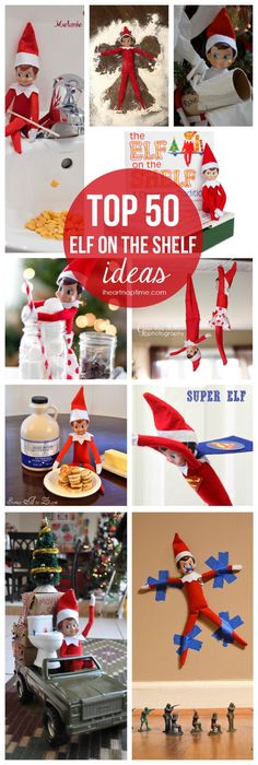 Elf hanging from the ceiling fan; elf and the mini pancakes; elf in a marshmallow bath; elf swinging on candy cane swing; elf making angels in sugar Noel Christmas, All Things Christmas, Winter Christmas, Christmas Ideas, Xmas Elf, Holiday Fun, Holiday Crafts, Holiday Decor, Holiday Ideas