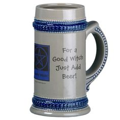 For a Good Witch Just Add Beer! Pagan Wiccan Stein by www.cheekywitch.com #zazzle #wicca #witch #wiccan #pagan #beer #stein