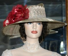 """""""Lady Hawk"""" is a very simple, yet elegant design of tea stained lace and a gorgeous red rose on a taupe sinamay hat base. Sinamay Hats, Fascinator, Derby Day, Stylish Hats, Kentucky Derby Hats, Outfit Of The Day, Taupe, Glamour, Angel"""