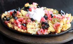 Idaho nachos (I would make without the olives, of course!)