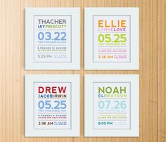 Modern Typography Birth Print by mosieposies on Etsy
