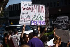 Protestors demonstrate against Breitbart News and what the protestors describe as the media company's propaganda for the Trump administration, March 12, 2017 outside the Breitbart office in the Brentwood area of Los Angeles, California.