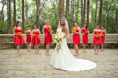 Orange + #Red #Bridesmaid #Dresses ♥ For an easy-to-follow 'Wedding Planning Guide' ... https://itunes.apple.com/us/app/the-gold-wedding-planner/id498112599?ls=1=8 ♥ For more wedding inspiration ... http://pinterest.com/groomsandbrides/boards/ & magical wedding ideas.