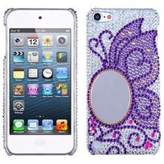 Mirror inlaid on purple butterfly crystal case for ipod touch 5  (free shipping!)