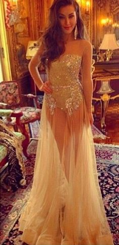 Sweetheart Champagne Sheer Tulle Sexy Prom Dresses with Long Sleeves