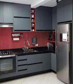 Pastilhas para Cozinha: + 50 Modelos Inspiradores – Decoração de Casa Kitchen Decor, Kitchen Design, Beautiful Kitchens, Improve Yourself, Sweet Home, Kitchen Cabinets, House Design, My House, Decoration