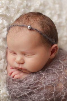 Items similar to Baby Headband, Baby Halo, Newborn Headband in Gray with Bead, Great for Photo Prop on Etsy