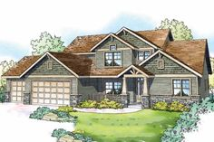 Bungalow Style House Plans - 2963 Square Foot Home , 2 Story, 4 Bedroom and 3 Bath, 3 Garage Stalls by Monster House Plans - Plan Craftsman Style House Plans, Cottage House Plans, Cottage Homes, Craftsman Exterior, Modern Craftsman, Farm House, Shingle Style Homes, Monster House Plans, Plan Design