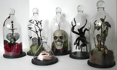 How-To: Soda Bottle Bell Jars, http://lifeartcollide.blogspot.ca/2012/10/soda-bottle-bell-jars.html    I don't actually necessarily want to put anything gruesome or halloween-y in them.  Mostly really impressed with how freakin' AWESOME these look for being cut out of 2-liter plastic!  Wonder how they hold up over time...