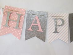 Pink and glitter silver Happy birthday by Cresscreativecrafts