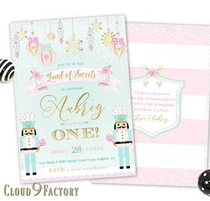 Nutcracker Invitation, Land of Sweet Birthday Invitation, Nutcracker Birthday Party Invites, Sugar Plum Fairy Invitation, CandyLand, Winter Themed Birthday Party for a Girl, Pink, Mint, Gold https://www.etsy.com/ca/listing/580014489/land-of-sweets-invitation-nutcracker