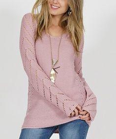 89561eb0037b6 Mauve Openwork-Accent V-Neck Sweater - Women