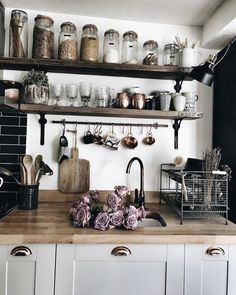 We love how organized this kitchen is! Could you ever keep your kitchen like th… We love how organized this kitchen is! 🔪 Could you ever keep your kitchen like this? 😍 TAG a friend who will love this! Farmhouse Kitchen Decor, Home Decor Kitchen, Country Kitchen, Kitchen Interior, Home Kitchens, Kitchen Ideas, Barn Kitchen, White Farmhouse, Industrial Kitchen Design