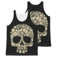 Floral Sugar Skull All-Over Print Tank Top Tank Tops